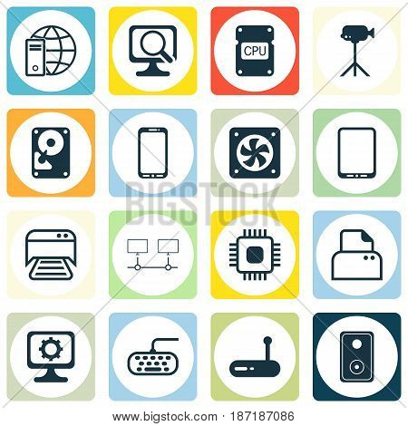 Set Of 16 Computer Hardware Icons. Includes PC, Printed Document, Smartphone And Other Symbols. Beautiful Design Elements.