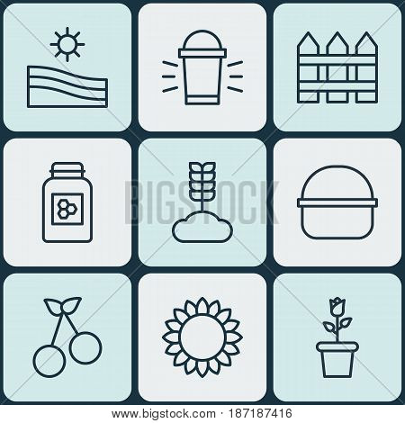 Set Of 9 Farm Icons. Includes Barrier, Helianthus, Cereal And Other Symbols. Beautiful Design Elements.