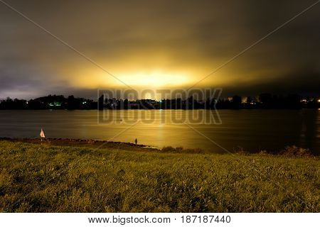 View of Neva River at night in St.Petersburg Russia.