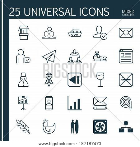Set Of 25 Universal Editable Icons. Can Be Used For Web, Mobile And App Design. Includes Elements Such As Analysis Diagram, Hen, Sleigh And More.