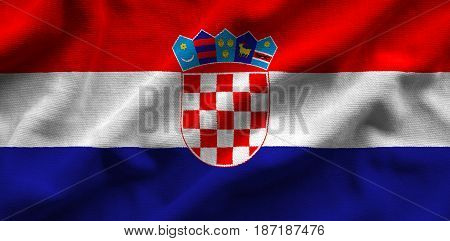 Flag Of Croatia. Flag Has A Detailed Realistic Fabric Texture.