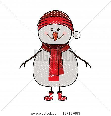 color crayon stripe cartoon of snowman with red cap and scarf and boots vector illustration