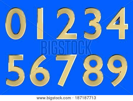 Set of 3D rendered numbers, 0-9. Golden glossy color on blue background for easy use.