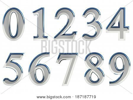 Set of 3D rendered numbers, 0-9. Silver glossy color on white background for easy use.