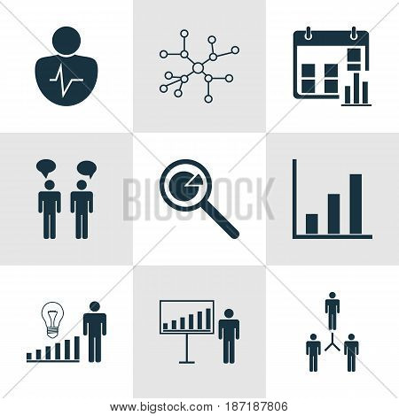 Set Of 9 Management Icons. Includes Group Organization, Decision Making, Team Meeting And Other Symbols. Beautiful Design Elements.