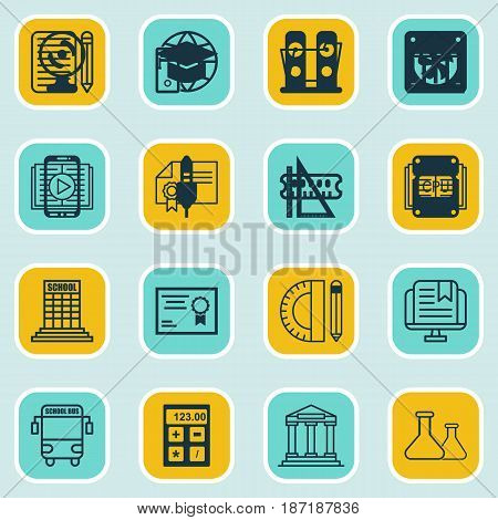 Set Of 16 School Icons. Includes Measurement, College, Graduation And Other Symbols. Beautiful Design Elements.