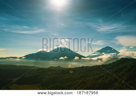 Batur volcano in the mist, Bali, Indonesia.