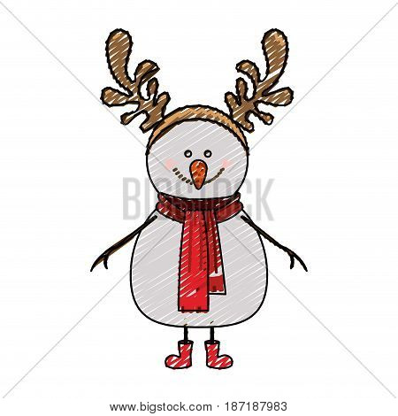 color crayon stripe cartoon of snowman with red boots and scarf and horns of reindeer vector illustration