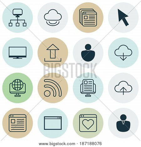Set Of 16 Web Icons. Includes Followed Website, Data Synchronize, Wifi And Other Symbols. Beautiful Design Elements.