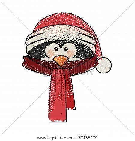 color crayon stripe cartoon of penguin face with scarf and christmas hat vector illustration