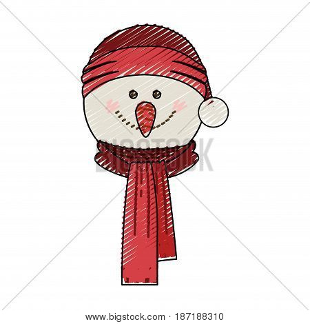 color crayon stripe cartoon of snowman face with scarf and christmas hat vector illustration