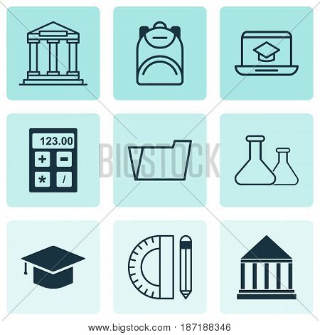 Set Of 9 School Icons. Includes College, Education Center, Chemical And Other Symbols. Beautiful Design Elements.
