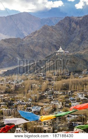 The city of Leh Leh city is located in the Indian Himalayas at an altitude of 3500 meters. viewed from Leh Palace