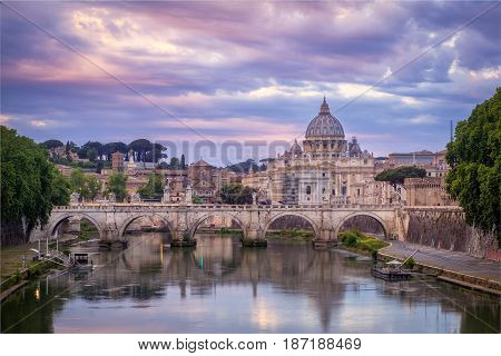 Scenic View Of Colorful Sunrise Over St Peters Basilica In Rome
