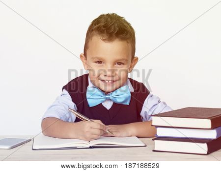 Young Schoolboy Writing Bookworm Education