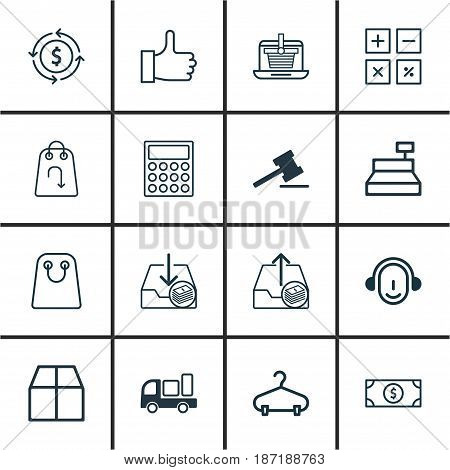 Set Of 16 E-Commerce Icons. Includes Peg, Employee, Till And Other Symbols. Beautiful Design Elements.