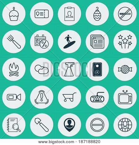 Set Of 25 Universal Editable Icons. Can Be Used For Web, Mobile And App Design. Includes Elements Such As Employee Location, Analysis, Wheelbarrow And More.