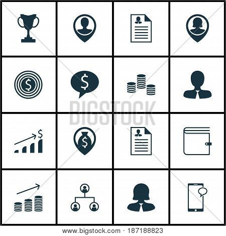 Set Of 16 Management Icons. Includes Pin Employee, Money, Business Goal And Other Symbols. Beautiful Design Elements.