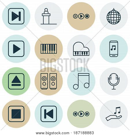 Set Of 16 Music Icons. Includes Note, Skip Song, Sound Box And Other Symbols. Beautiful Design Elements.
