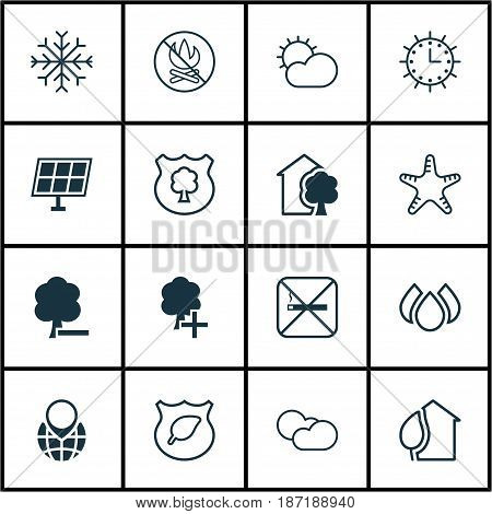 Set Of 16 Ecology Icons. Includes Snow, Fire Banned, Sun Power And Other Symbols. Beautiful Design Elements.