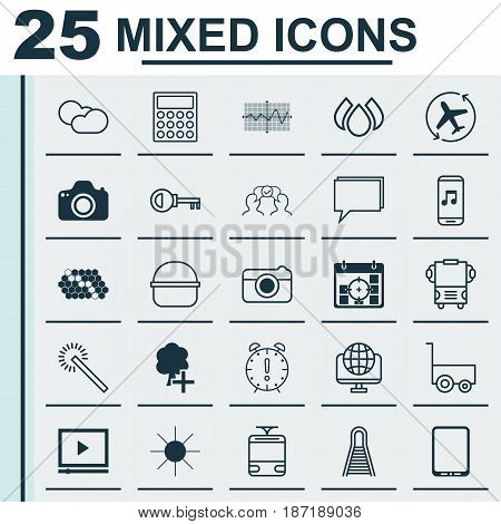 Set Of 25 Universal Editable Icons. Can Be Used For Web, Mobile And App Design. Includes Elements Such As Project Targets, Cellphone, Sparkles And More.