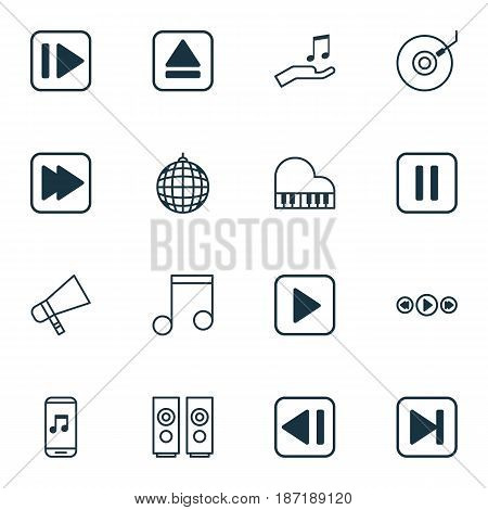 Set Of 16 Music Icons. Includes Audio Mobile, Last Song, Mute Song And Other Symbols. Beautiful Design Elements.