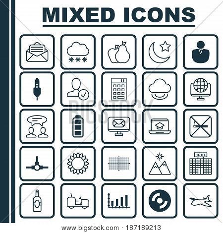 Set Of 25 Universal Editable Icons. Can Be Used For Web, Mobile And App Design. Includes Elements Such As Cigarette, Blank Cd, Computer Network And More.