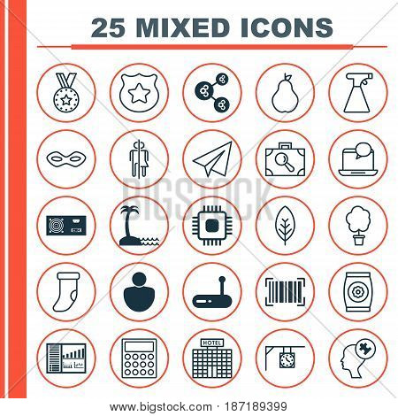 Set Of 25 Universal Editable Icons. Can Be Used For Web, Mobile And App Design. Includes Elements Such As Carnival Face, Fertilizer, Power Generator And More.