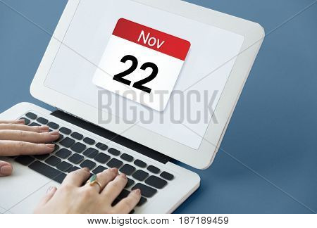 Illustration of calendar schedule personal organizer on laptop