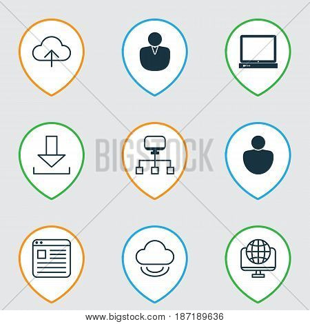 Set Of 9 Online Connection Icons. Includes Website Page, Login, Account And Other Symbols. Beautiful Design Elements.