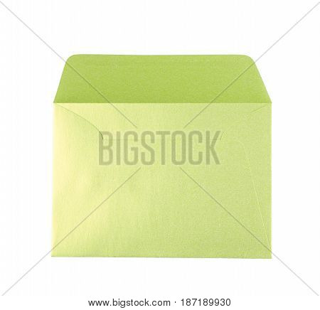 Opened paper envelope isolated over the white background