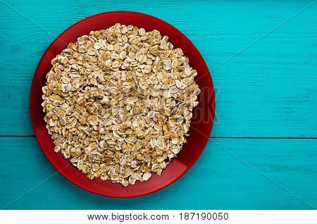 Muesli On A Wooden Table. Muesli Top View. Healthy Food .