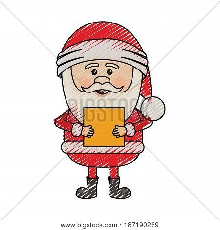 color crayon stripe cartoon of santa claus with package vector illustration