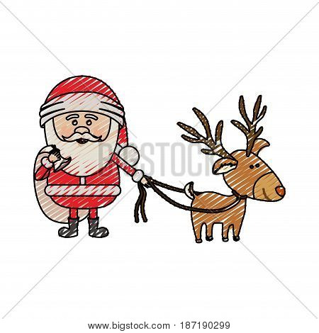color crayon stripe cartoon of santa claus with gift bag and reindeer with rope vector illustration