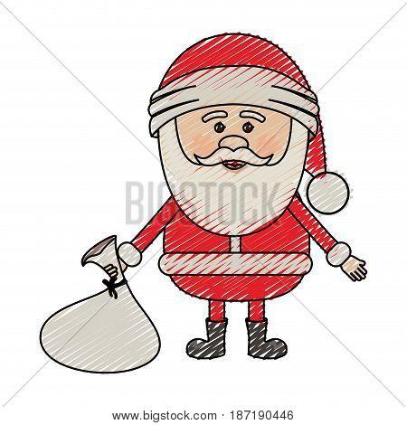 color crayon stripe cartoon of santa claus with gift bag on floor vector illustration