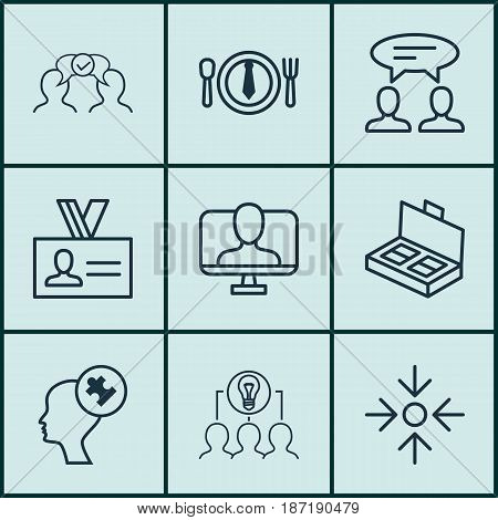Set Of 9 Business Management Icons. Includes Collaborative Solution, Human Mind, Online Identity And Other Symbols. Beautiful Design Elements.
