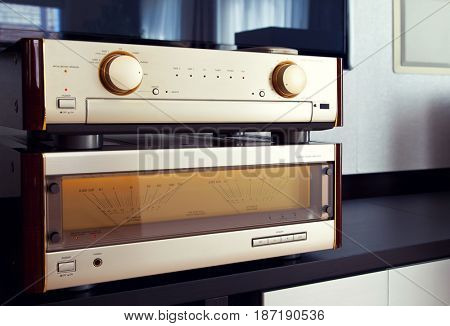 Two Amplifier Vintage Audio Stereo System Luxury High End Perspective View