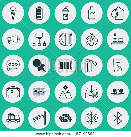 Set Of 25 Universal Editable Icons. Can Be Used For Web, Mobile And App Design. Includes Elements Such As Accumulator Sign, Discount Coupon, Media Campaign And More.