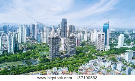JAKARTA Indonesia. May 12 2017: beautiful skyscrapers with blue sky in the Central Jakarta