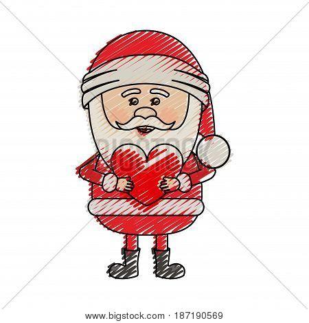 color crayon stripe cartoon of santa claus with heart in hands vector illustration