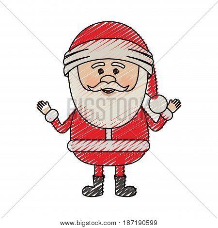 color crayon stripe cartoon of smiling santa claus vector illustration