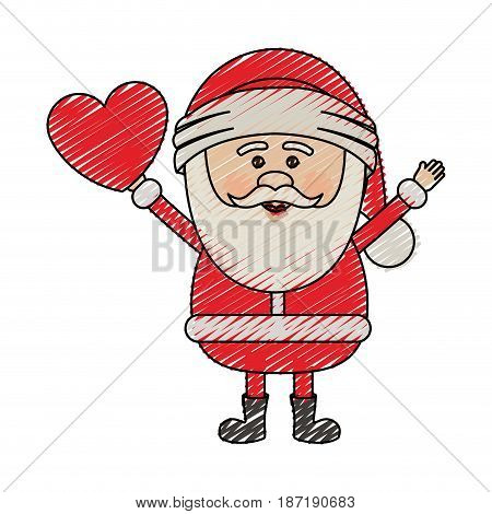 color crayon stripe cartoon of santa claus with open arms and holding heart in hand vector illustration