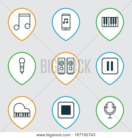 Set Of 9 Multimedia Icons. Includes Sound Box, Octave, Piano And Other Symbols. Beautiful Design Elements.