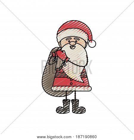 color crayon stripe cartoon of funny santa claus with gift bag vector illustration