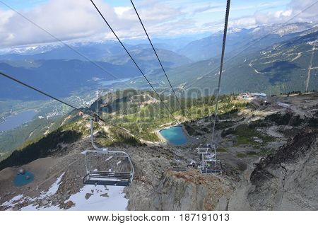 Whistler Mountain, Canada black diamond chairlift summer