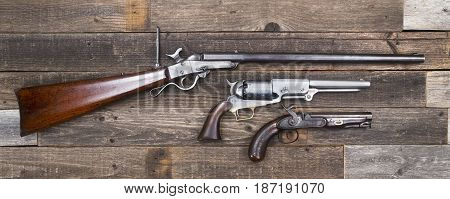 Antique American Civil War era rifle and pistols made a from 1840-1863.
