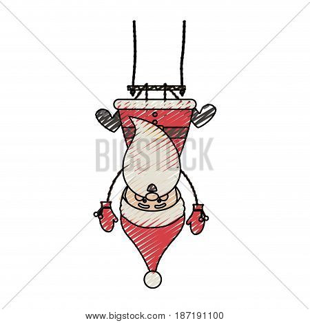 color crayon stripe cartoon of funny santa claus pendant of swing vector illustration