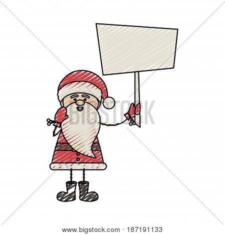 color crayon stripe cartoon of funny santa claus with banner vector illustration