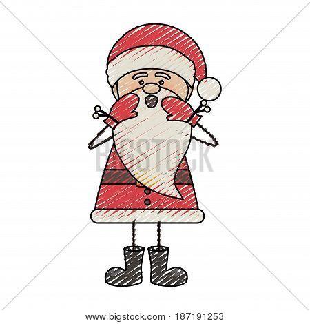 color crayon stripe cartoon of funny santa claus screaming vector illustration