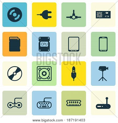 Set Of 16 Computer Hardware Icons. Includes Music, Joystick, Router And Other Symbols. Beautiful Design Elements.